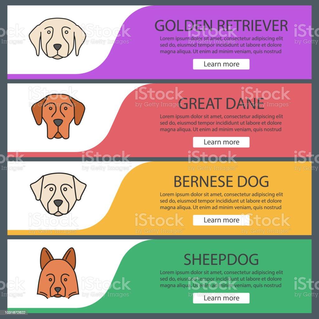 Dogs breeds web banner templates set vector art illustration