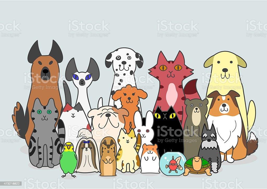 Perros y gatos de grupo pequeño de animales - ilustración de arte vectorial