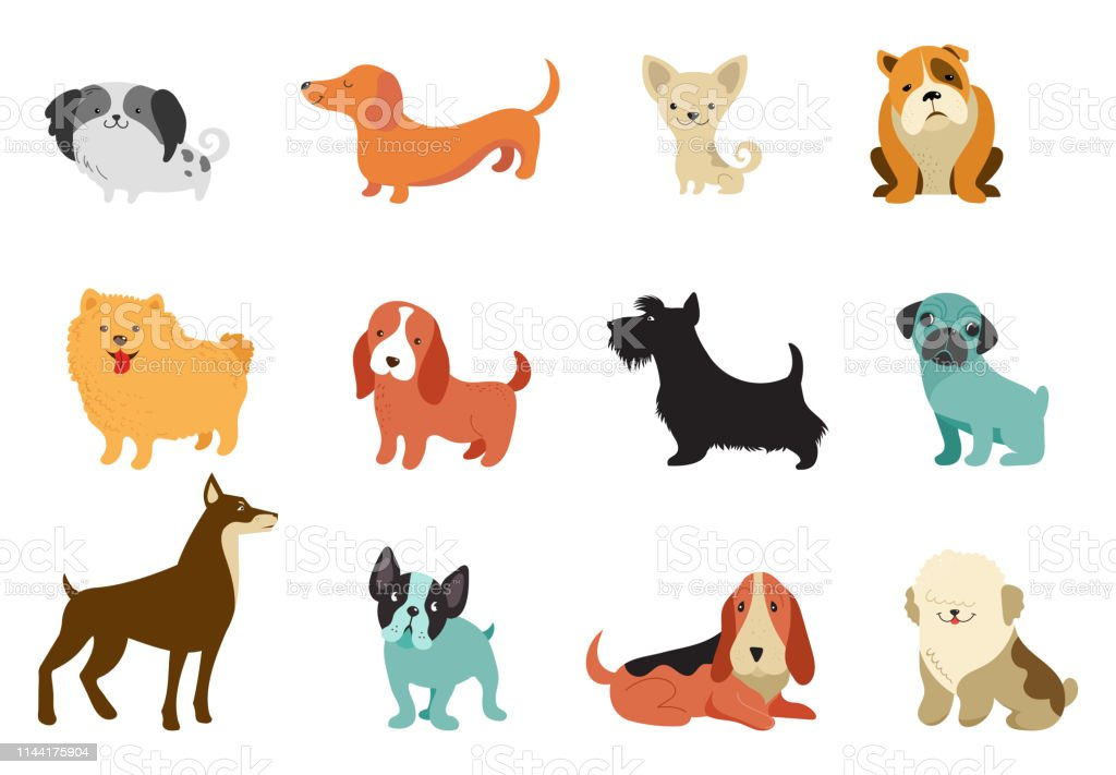 Dogs Collection Of Vector Illustrations Funny Cartoons ...