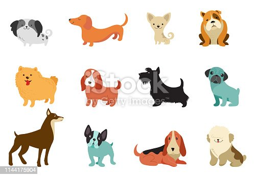 Various Dogs - collection of vector illustrations. Funny cartoons, different dog breeds, flat style