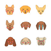 Dogs cute kawaii vector characters. Animals with smiling muzzles. Unamused Chihuahua. Laughing Shih Tzu. Squinting Labrador. Funny emoji, stickers, emoticon set. Isolated cartoon color illustration