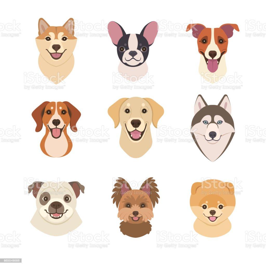 Dogs faces collection. – artystyczna grafika wektorowa