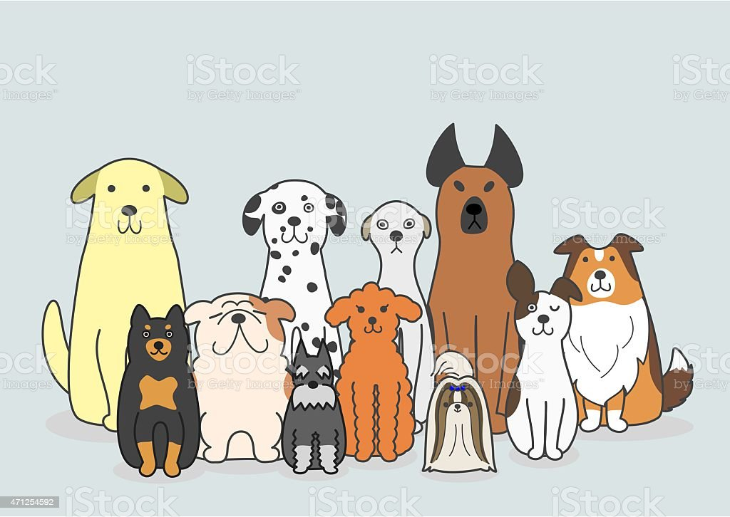 dogs group vector art illustration