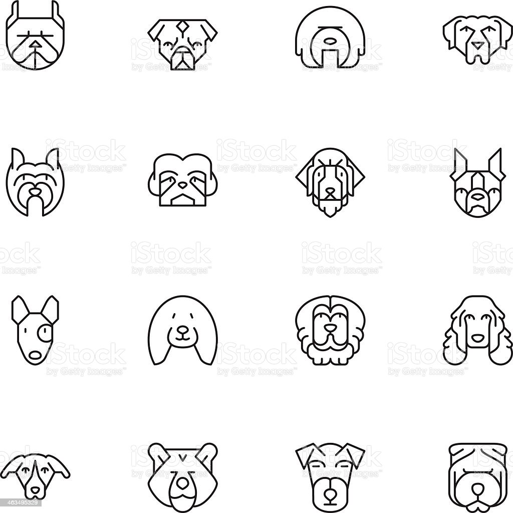 Dogs Head Icons | set 2 - Light royalty-free stock vector art