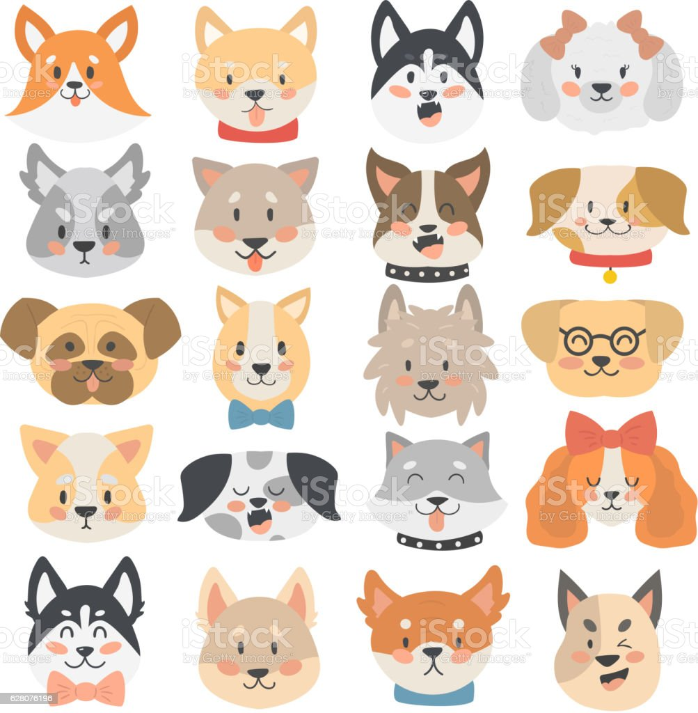 Dogs heads emoticons vector set. vector art illustration