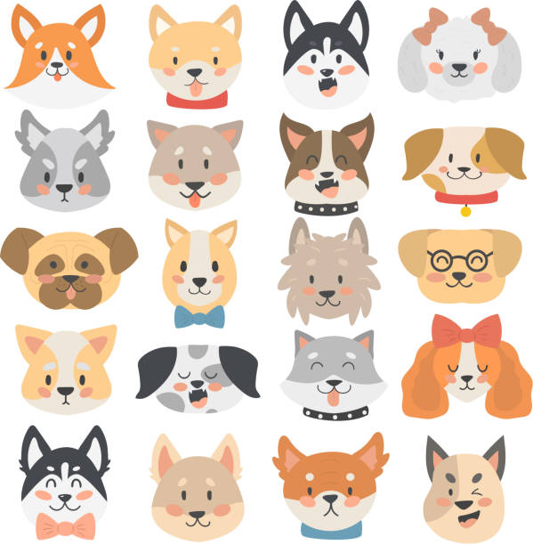 dogs heads emoticons vector set. - schoßhunde stock-grafiken, -clipart, -cartoons und -symbole