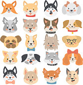 Dogs heads emoticons vector set.