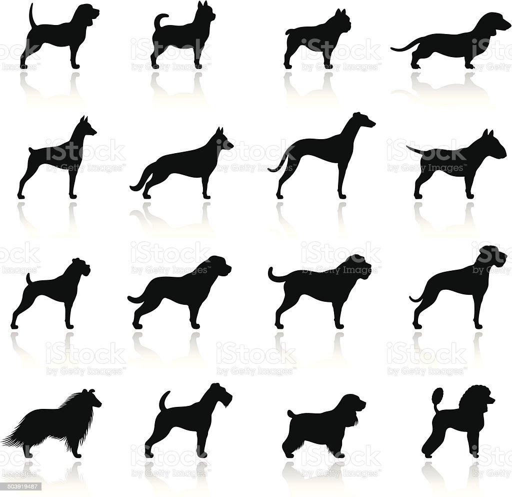 Icono conjunto de perros - ilustración de arte vectorial