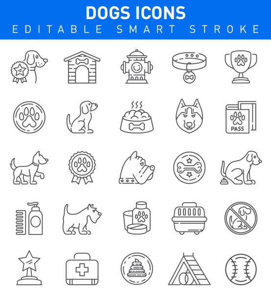 dogs icons. editable stroke collection - dog treats stock illustrations
