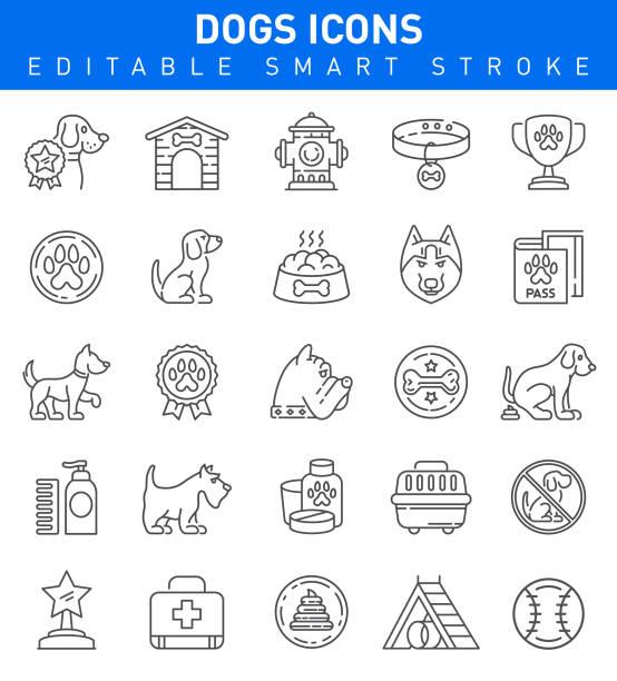 ilustrações de stock, clip art, desenhos animados e ícones de dogs icons. editable stroke collection - dog food