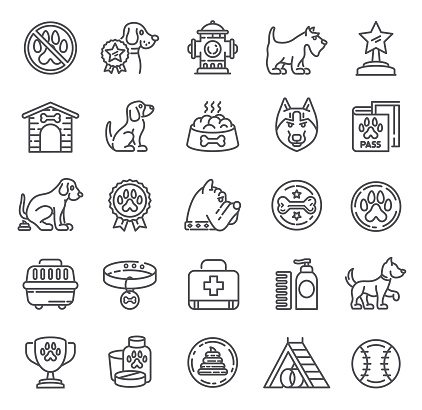 Dogs Icons. Single Line Collection