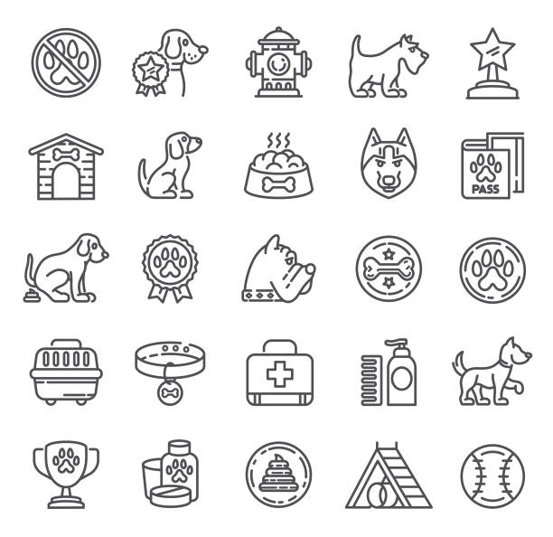 dogs icons. single line collection - dog treats stock illustrations