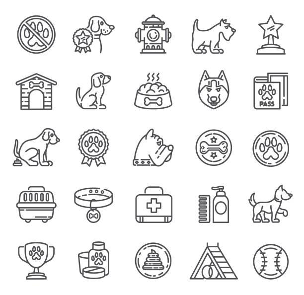 ilustrações de stock, clip art, desenhos animados e ícones de dogs icons. single line collection - dog food