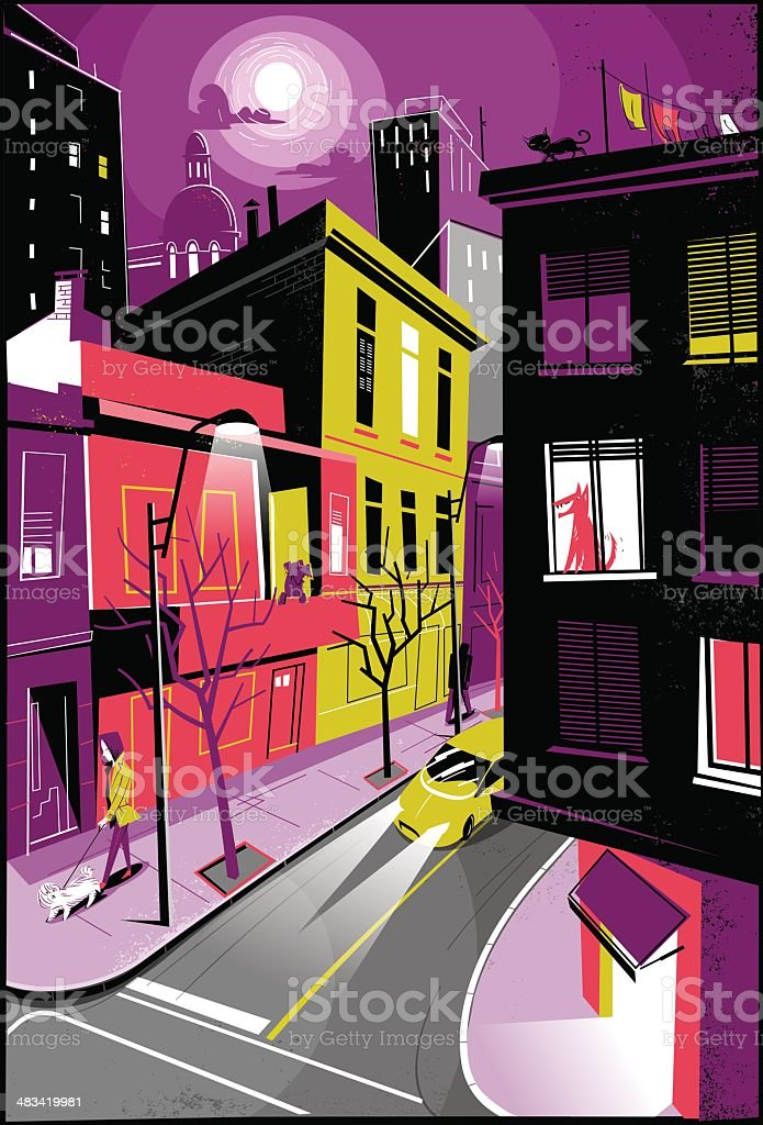 Dog's life City dogs socializing.  Apartment stock vector