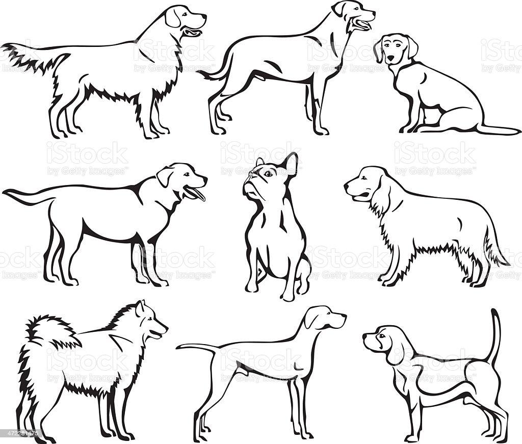 Conjunto de perros de trazado - ilustración de arte vectorial