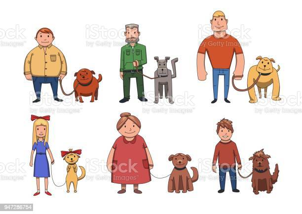 Dogs look like their owners people walking their dogs cartoon vector vector id947286754?b=1&k=6&m=947286754&s=612x612&h=rnyds1b8yx2qmizspoebzt3mvcudjdyjb7jenk2l6ds=