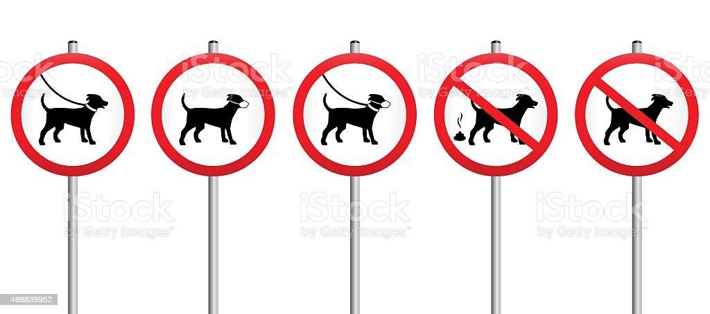 Hund führt Maulkorb Schmutz obligatorische Schild – Vektorgrafik
