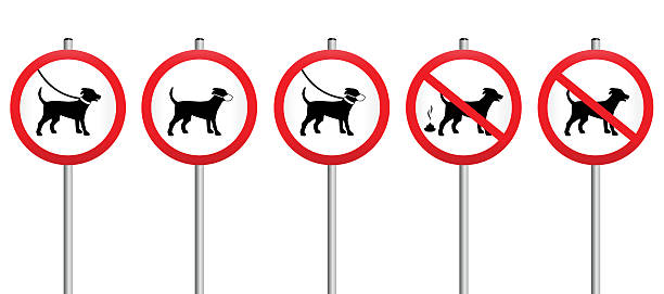 Dogs On Leads Muzzle Dirt Mandatory Sign vector art illustration