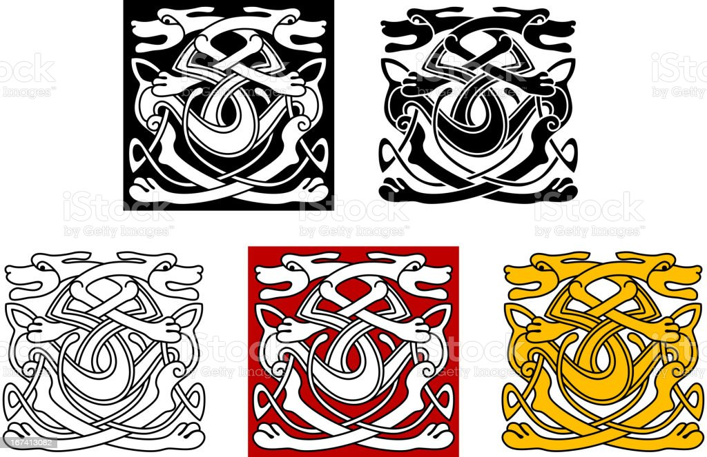 Dogs ornamental pattern in celtic style royalty-free stock vector art