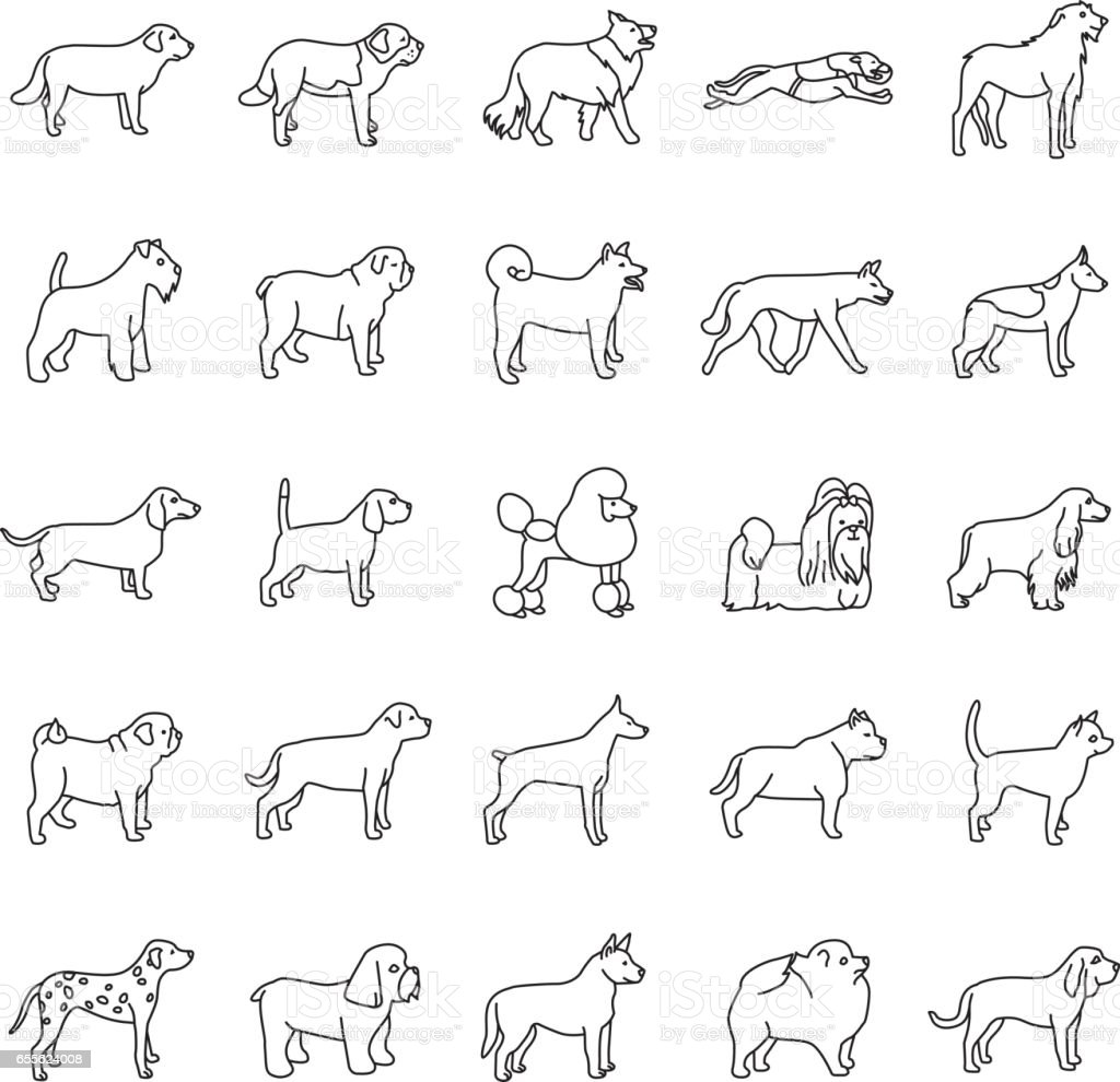Dogs outlines vector icons vector art illustration