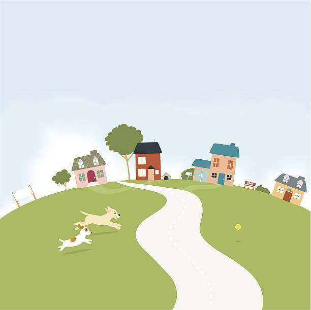 Dogs running in a small village vector art illustration