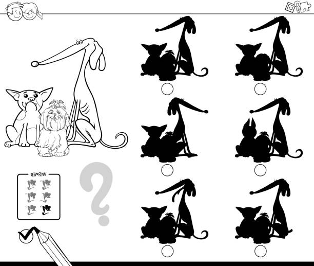 dogs shadows educational game color book - office party stock illustrations, clip art, cartoons, & icons