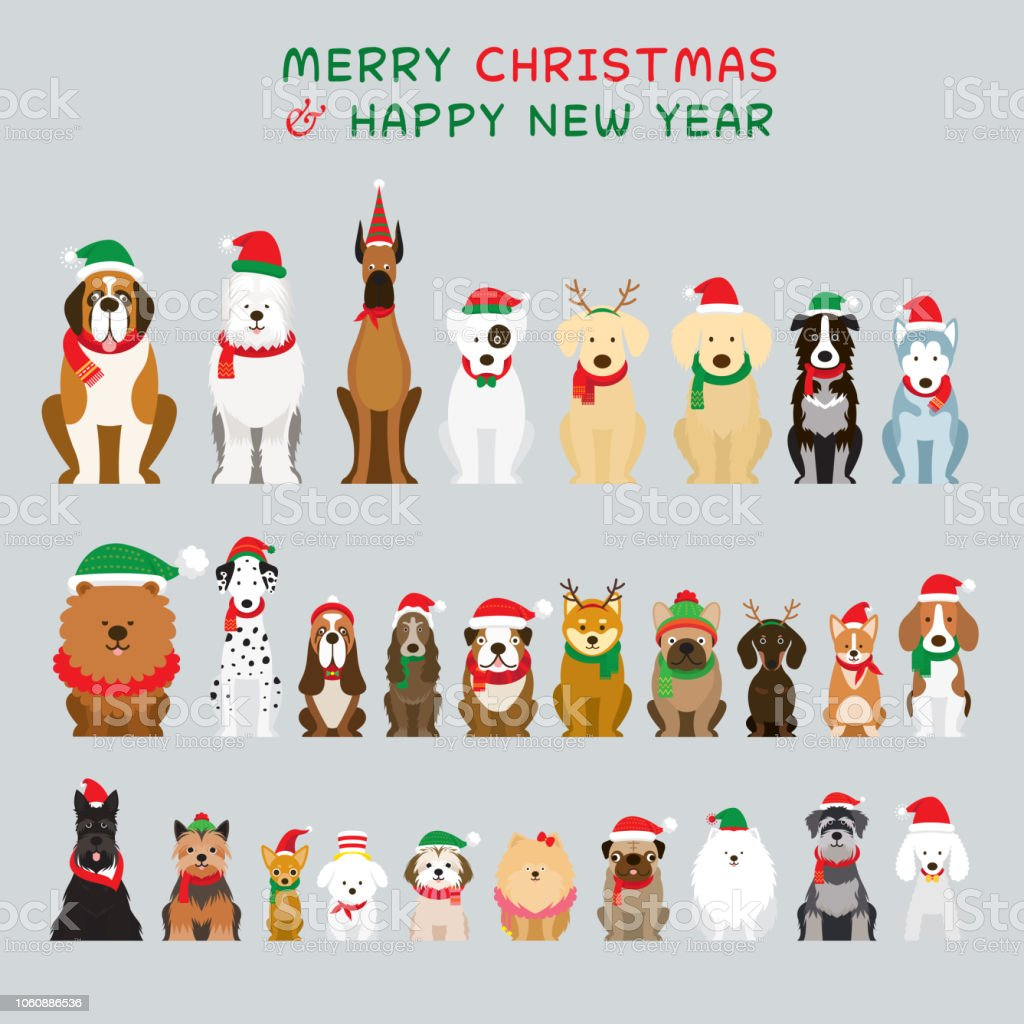 Dogs Sitting and Wearing Christmas Costume, Characters royalty-free dogs sitting and wearing christmas costume characters stock illustration - download image now