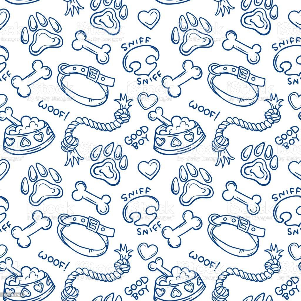 Ilustración de Cosas De Perros Doodle De Patrones Sin Fisuras y más ...