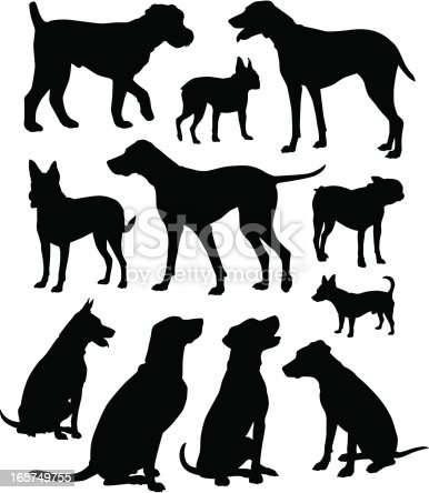 Who let the dogs out? A collection of canine silhouettes.