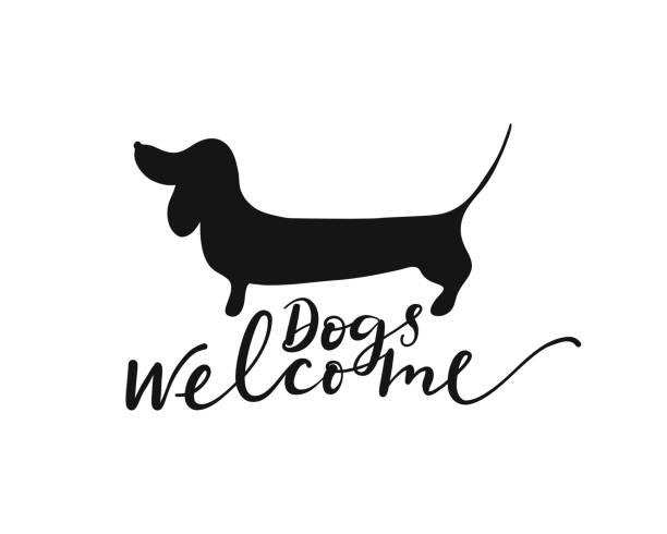 bildbanksillustrationer, clip art samt tecknat material och ikoner med hund välkommen skylt - tax