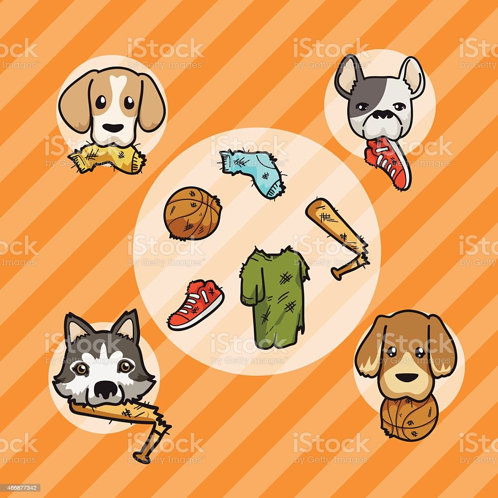 Dogs with their toy vector art illustration