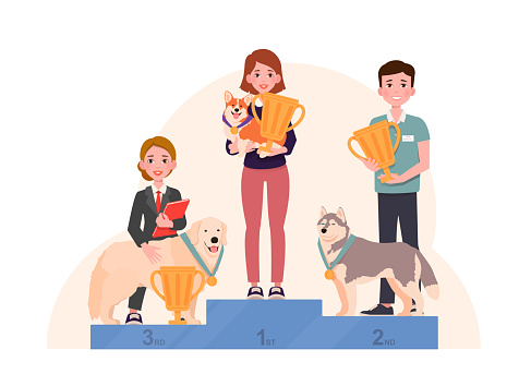 Dogs with winning medals stand on winner pedestal with their owners holding gold cups. Champions on podium. Vector illustration isolated on white