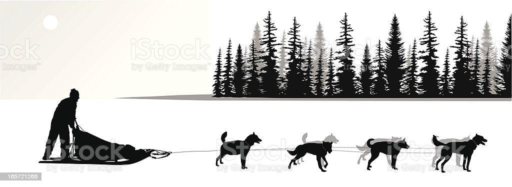 Dogsled Vector Silhouette vector art illustration