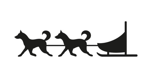 Royalty Free Sled Dog Race Clip Art, Vector Images