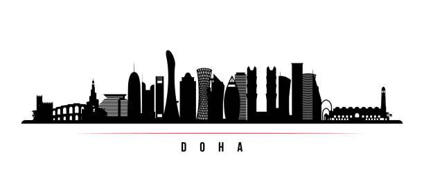 illustrations, cliparts, dessins animés et icônes de bannière horizontale de doha ville skyline. silhouette noire et blanche de la ville de doha, qatar. modèle vectoriel pour votre conception. - doha