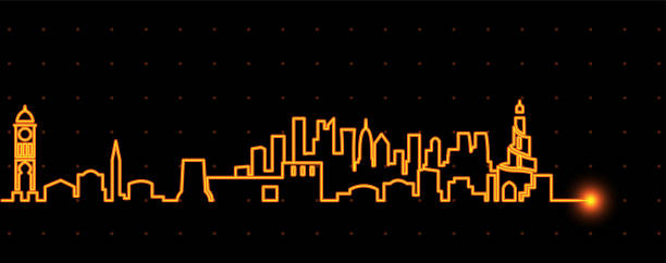 illustrations, cliparts, dessins animés et icônes de doha strie lumineuse skyline - doha
