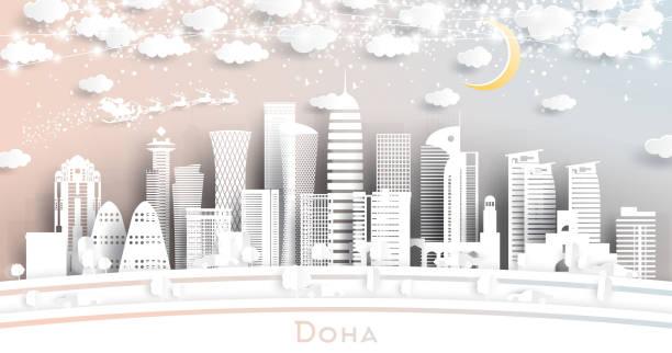 illustrations, cliparts, dessins animés et icônes de doha qatar city skyline en style de coupe de papier avec flocons de neige, lune et neon garland. - doha