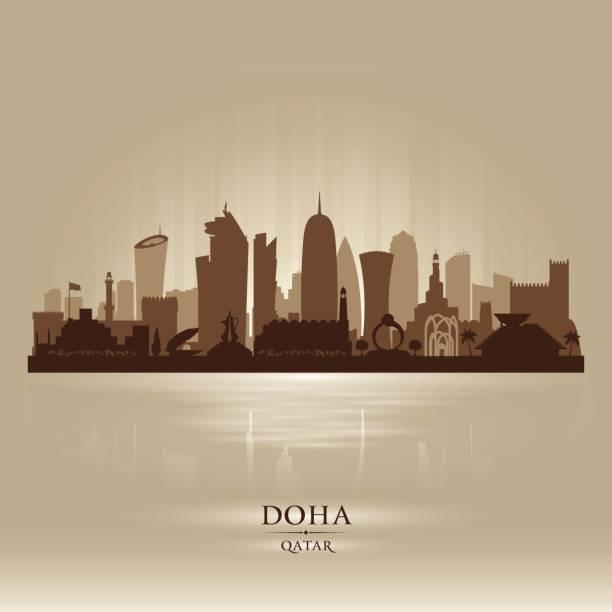 illustrations, cliparts, dessins animés et icônes de silhouette de la ville de doha qatar skyline - doha