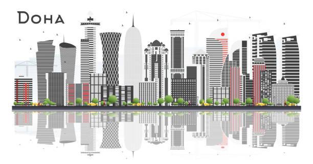 illustrations, cliparts, dessins animés et icônes de doha qatar skyline avec les bâtiments gris isolated on white background. - doha