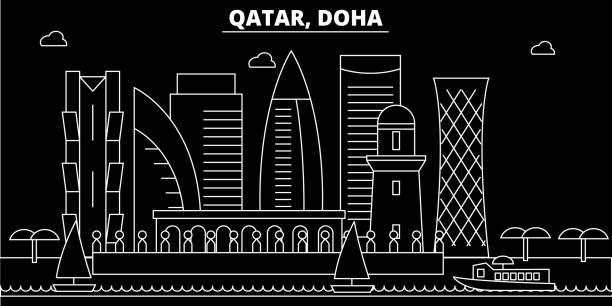 illustrations, cliparts, dessins animés et icônes de skyline de silhouette de doha. qatar - doha vecteur ville, les qatari architecture linéaire, les bâtiments. illustration de voyage doha, points de repère de plan. icône plate de qatar, bannière qatarie ligne - doha
