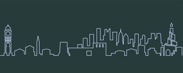 illustrations, cliparts, dessins animés et icônes de doha monoligne skyline - doha