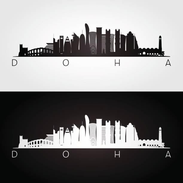 illustrations, cliparts, dessins animés et icônes de silhouette de ligne d'horizon et points de repère de doha. - doha