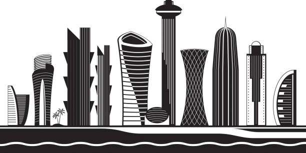 illustrations, cliparts, dessins animés et icônes de skyline de doha par jour - doha