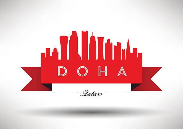 illustrations, cliparts, dessins animés et icônes de panorama de doha et design - doha