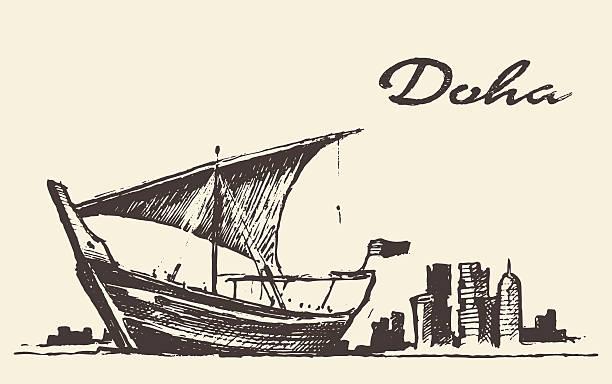illustrations, cliparts, dessins animés et icônes de panorama de doha, au qatar, un boutre croquis de vecteur dessiné à la main - doha