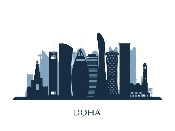 ilustraciones, imágenes clip art, dibujos animados e iconos de stock de skyline de doha, silueta monocromo. ilustración de vector. - qatar
