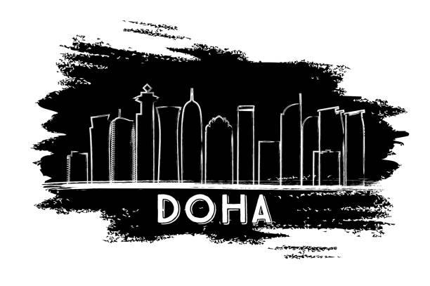 illustrations, cliparts, dessins animés et icônes de silhouette de doha de skyline. main de croquis dessinés. - doha