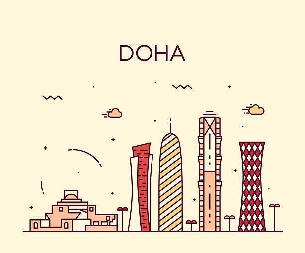 illustrations, cliparts, dessins animés et icônes de panorama de doha style linéaire silhouette illustration - doha