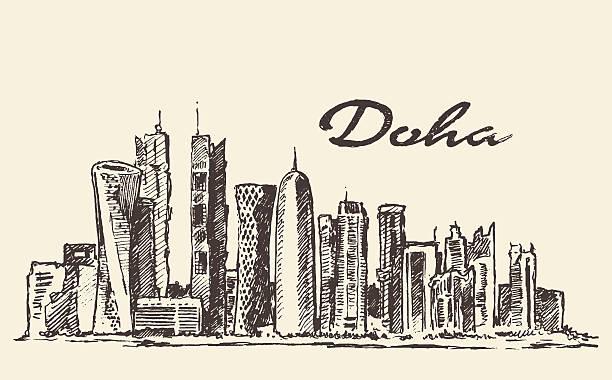 illustrations, cliparts, dessins animés et icônes de panorama de doha illustration vectorielle dessinés à la main - doha