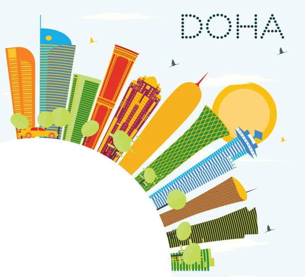 illustrations, cliparts, dessins animés et icônes de skyline de doha avec bâtiments de couleur, bleu ciel et espace copie. - doha